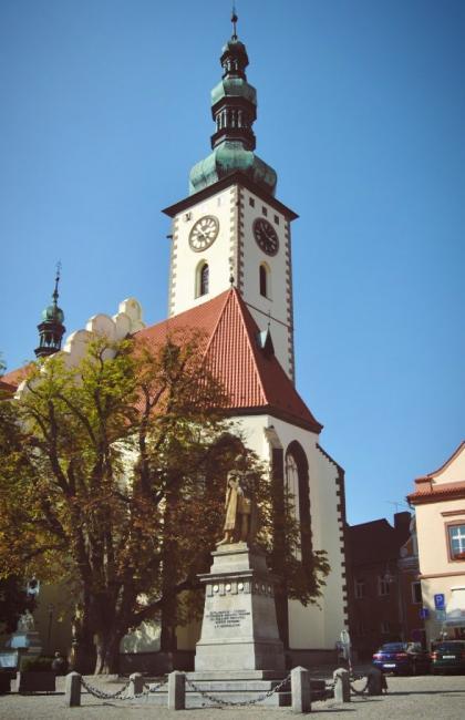 Kostel Proměnění Páně a vyhlídková věž v Táboře