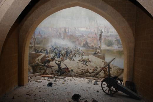 Diorama boje Pražanů se Švédy na Karlově mostě r. 1648