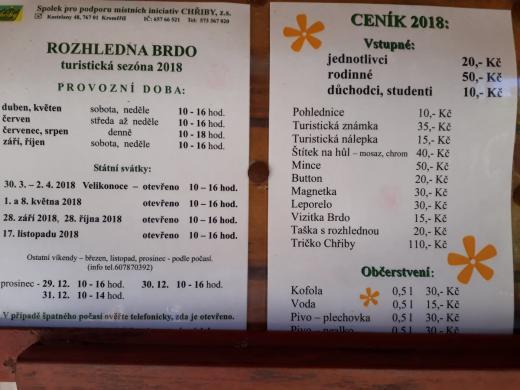 Ceník vstupného a otevírací doba v roce 2018