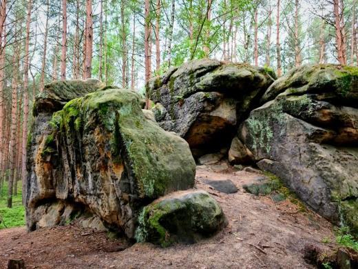 Skalní sochy Václava Levého a jeskyně u obce Želízy